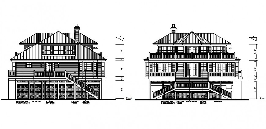 Three story house building elevation cad drawing details dwg file