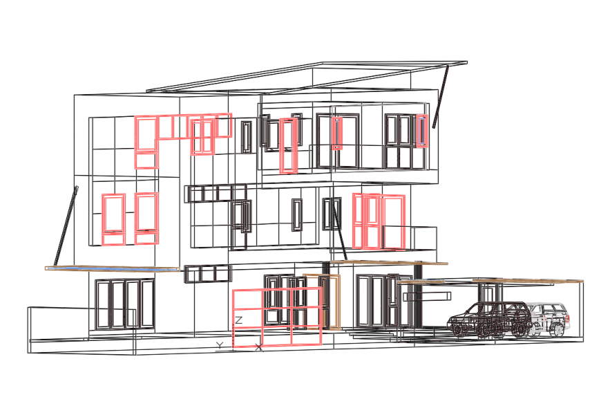 Three story house building section cad drawing details dwg file