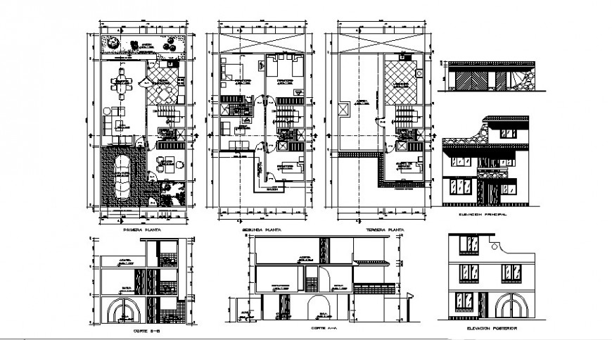 Three story house elevation, section and floor plan cad drawing details dwg file