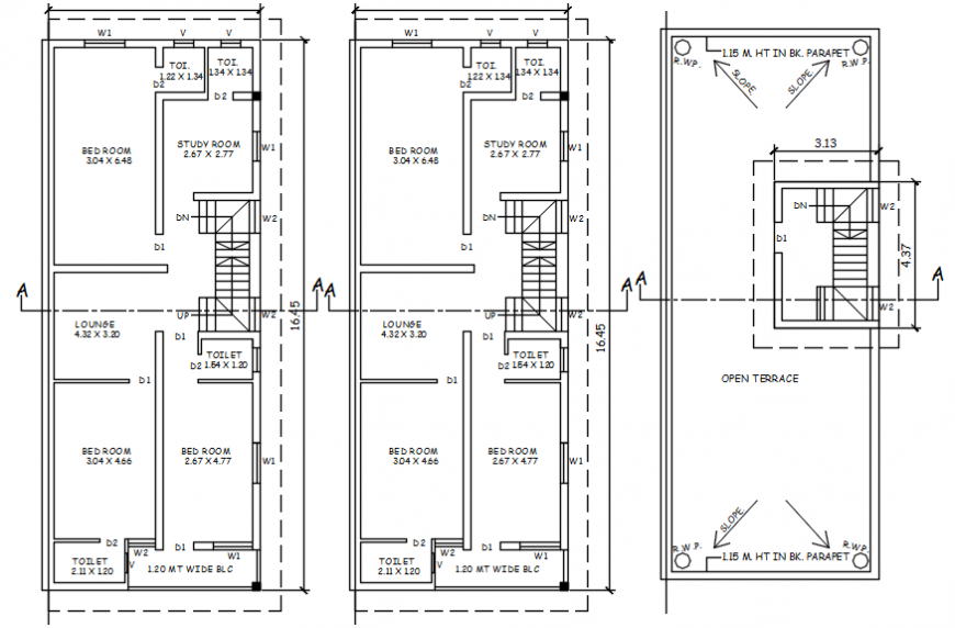 Three story house floor plan layout plan cad drawing details dwg file