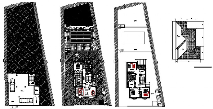 Three story house ground, first and second floor plan details with terrace dwg file