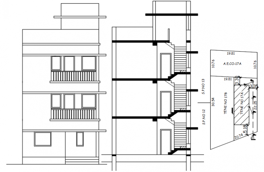 Three story house main elevation, section and structure details dwg file