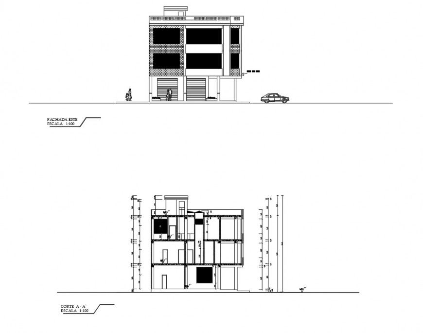 Three story house main elevation and section cad drawing details dwg file