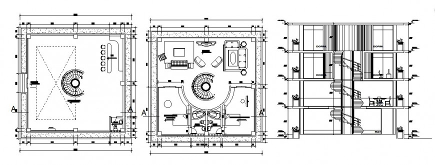 Three story house main section and plan cad drawing details dwg file