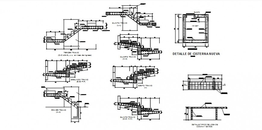 Three story house staircases sections and constructive structure drawing details dwg file