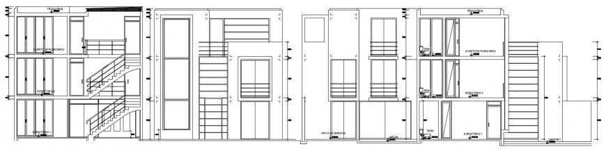 Three story houses elevation and section drawing details dwg file