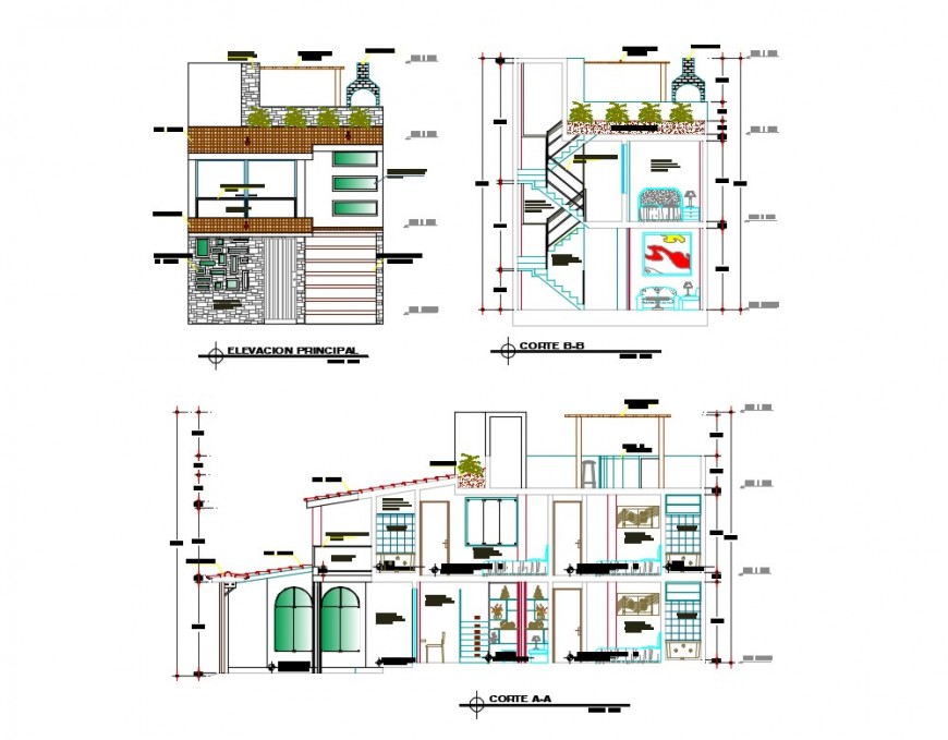 Three story residential house elevation and section details dwg file