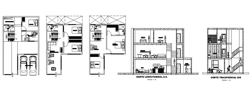 Three story residential house section and floor plan cad drawing details dwg file