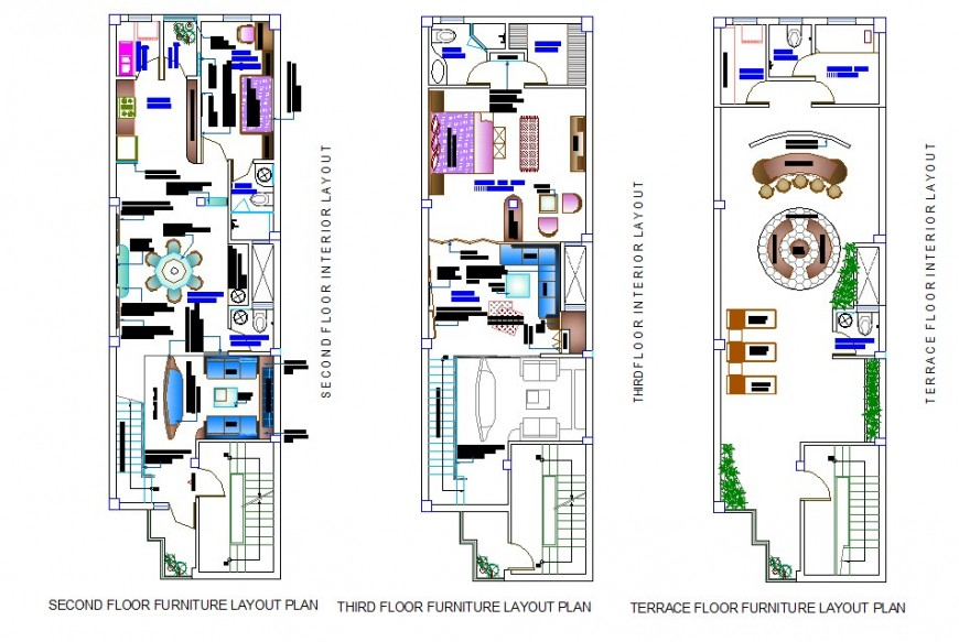 Three story residential housing structure 2d view CAD block autocad file