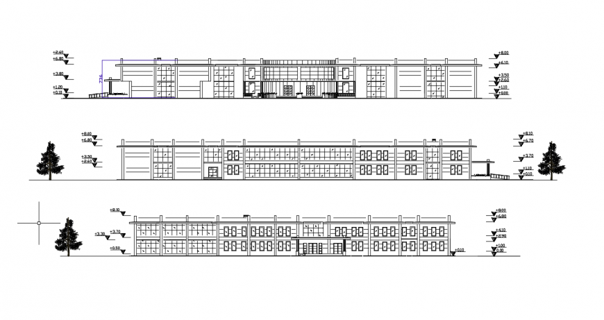 Three story school building all sided elevation cad drawing details dwg file