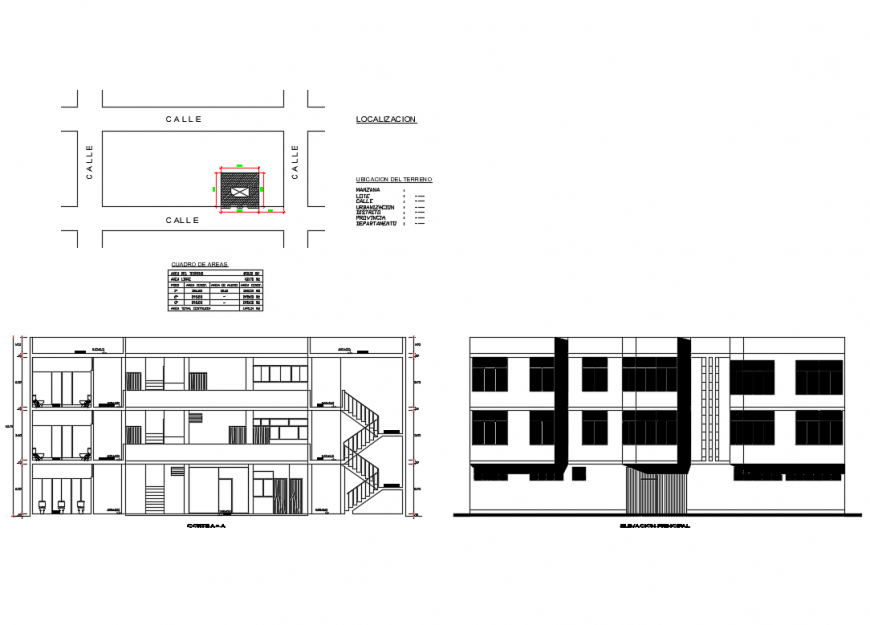 Three story school building elevation and sectional details dwg file