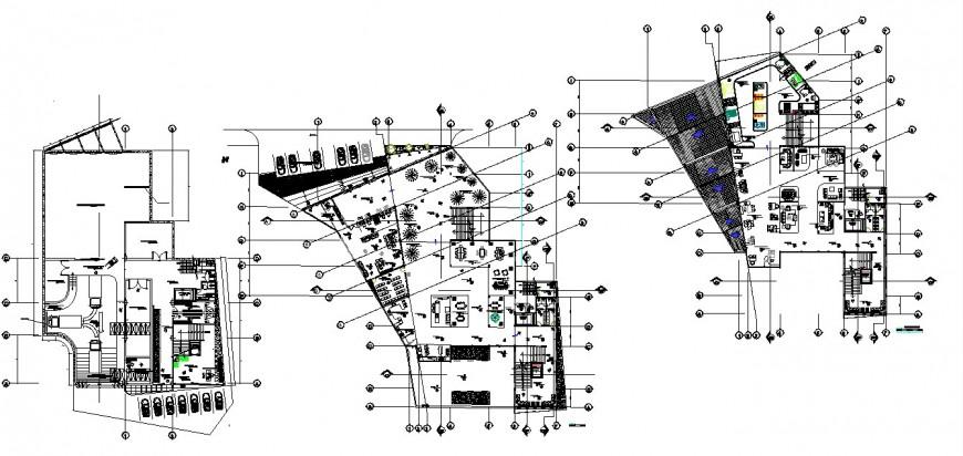 Three story showroom floor plan distribution drawing details dwg file