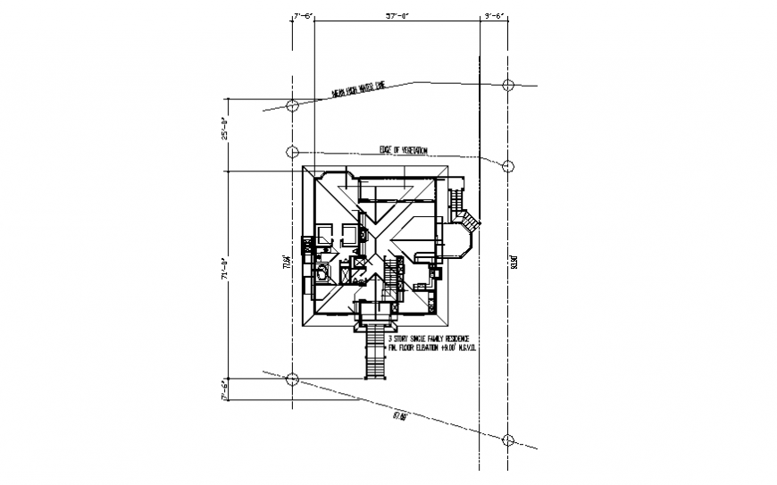 Three story single family house framing and general layout plan details dwg file