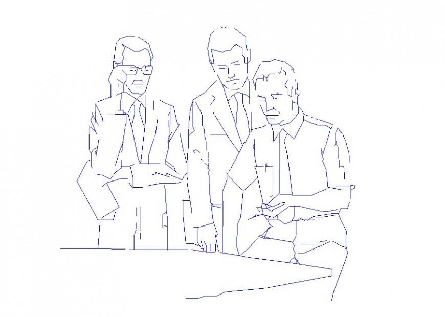 Three working people elevation blocks cad drawing details dwg file