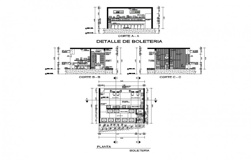 Ticket counter for airport section, plan and auto-cad drawing details dwg file