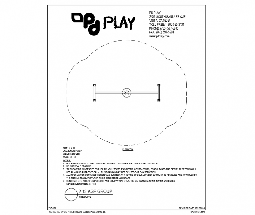 Tire swing top view play equipment of garden dwg file