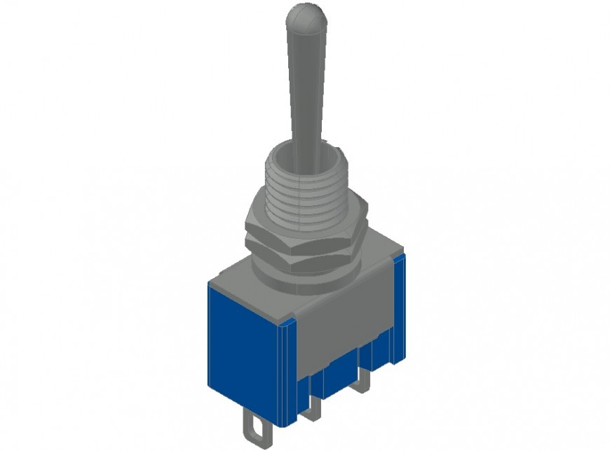 Toggle switch details drawings 3d model autocad file