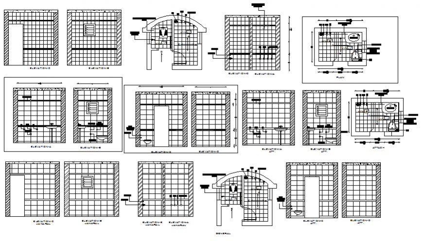 Toilet and bathroom sectional and installation details dwg file
