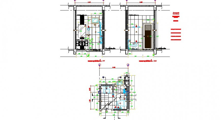 Toilet of house main section, plan and sanitary installation drawing details dwg file