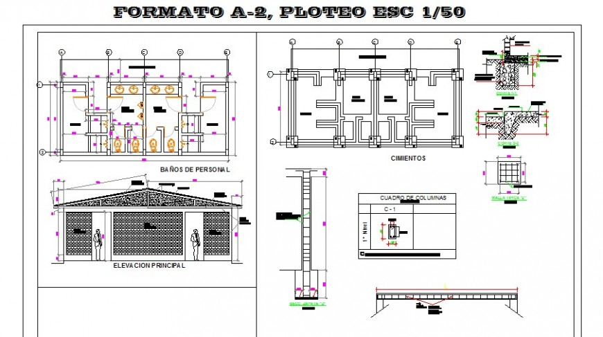 Toilet of industrial building elevation, section, plan and installation details dwg file