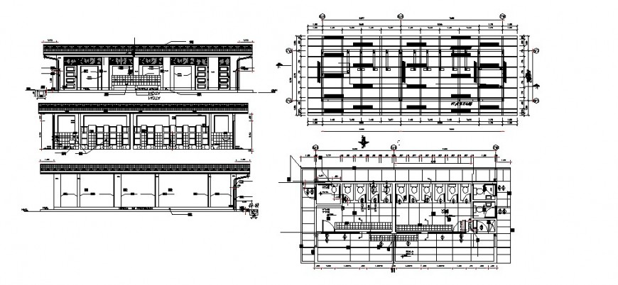 Toilet of school building elevation, section, plan and installation drawing details dwg file