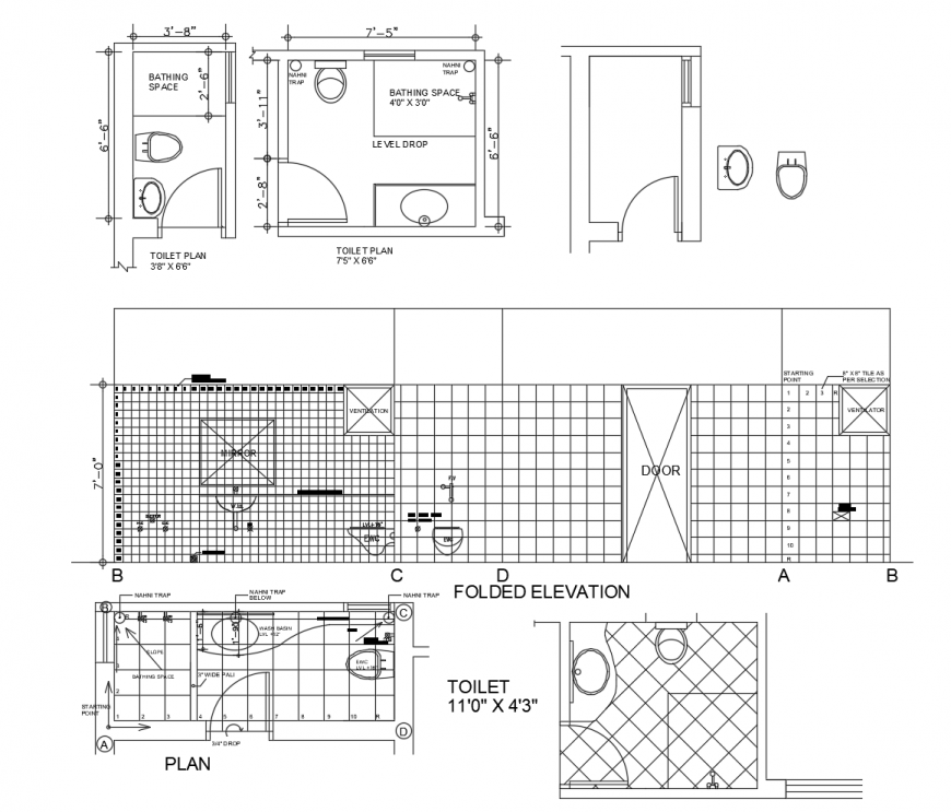 Toilet plan with folded elevation in auto cad file
