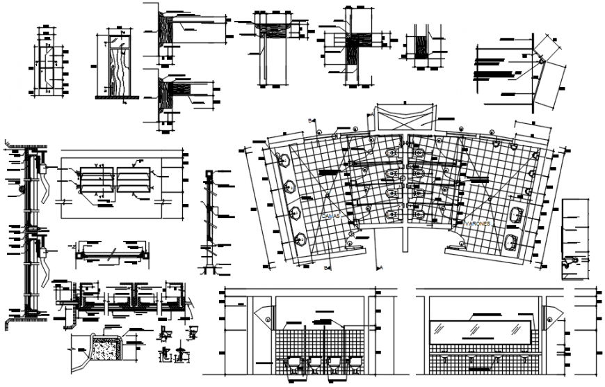 Toilet section, plan, installation and ventilation window installation details dwg file