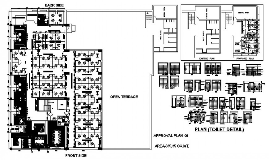 Toilet section, plan and sanitary installation details of corporate building dwg file