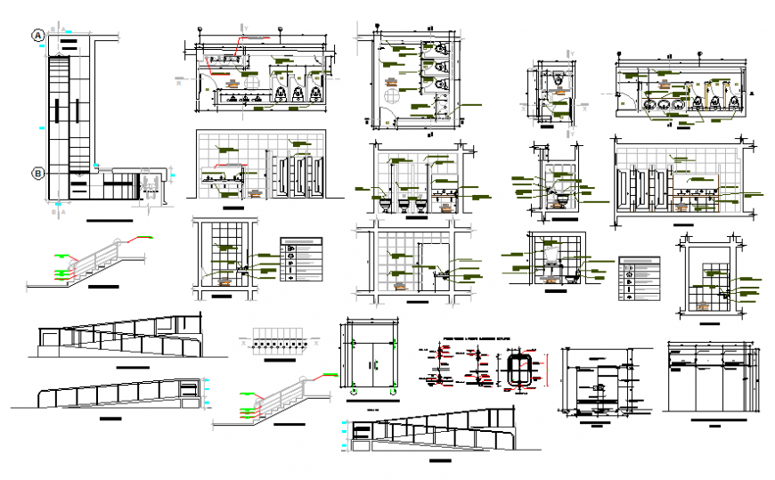 Toilets and bathroom sections and installation structure details dwg file