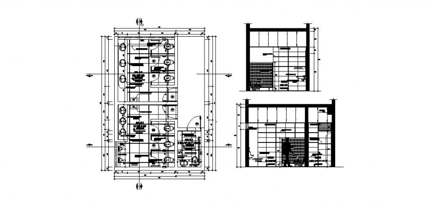 Toilets for office section, plan and sanitary installation drawing details dwg file