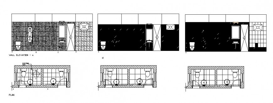Toilets section, plan and installation drawing details for shopping dwg file