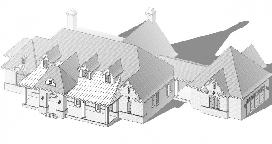 Top 2d elevation view of a house concept