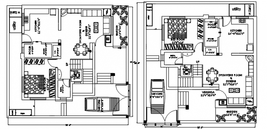 top view 2d plan showing architecture plan details with furniture detailing