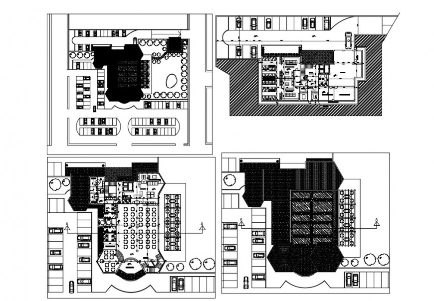 Top view and roof view detail of a Restaurant design dwg file in Autocad format