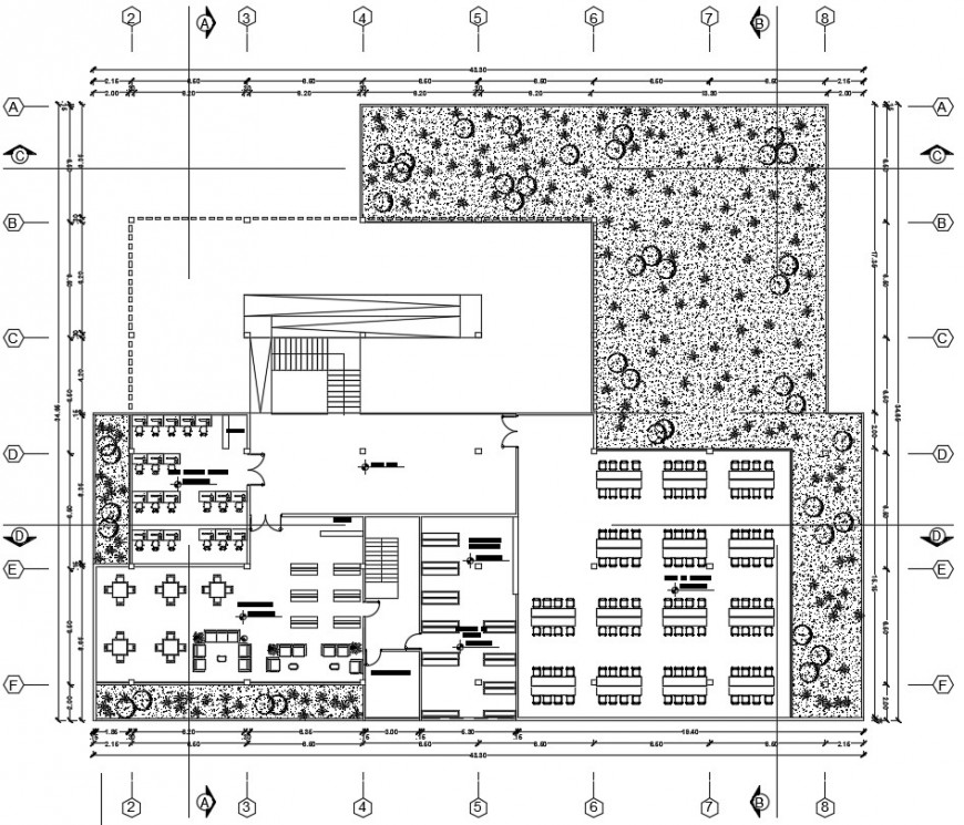 Top view complete furniture plan of the library dwg file