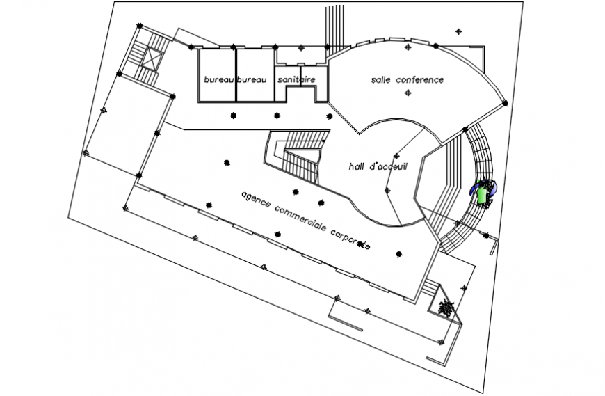 Top view conference plan detail top view