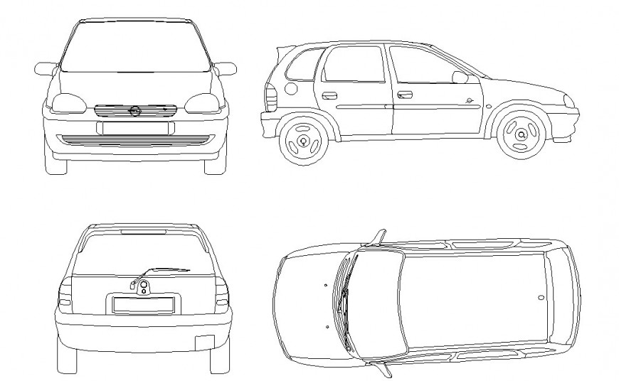 Top view detail of a car dwg file