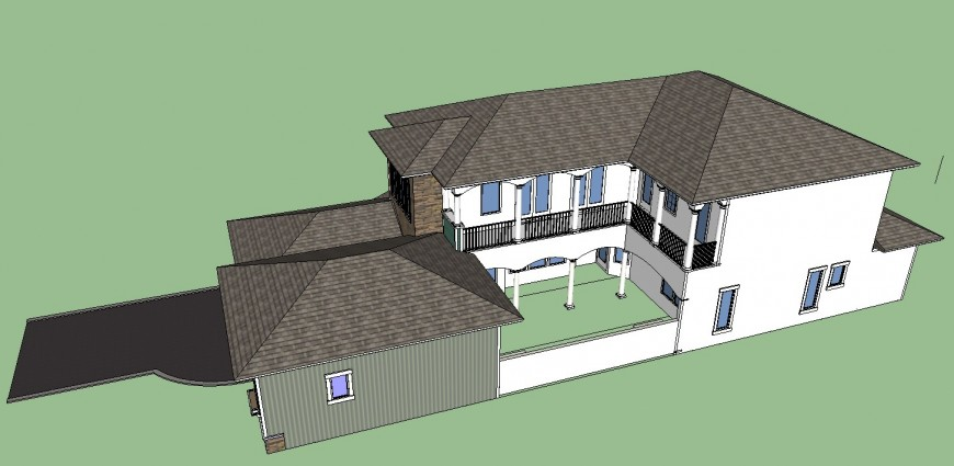 Top view elevation of a building, roof detailing 3d