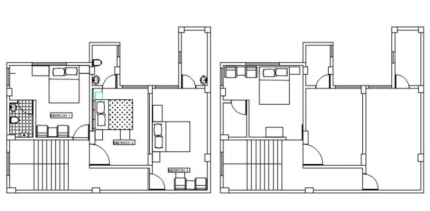 Top view furniture layout plan details file