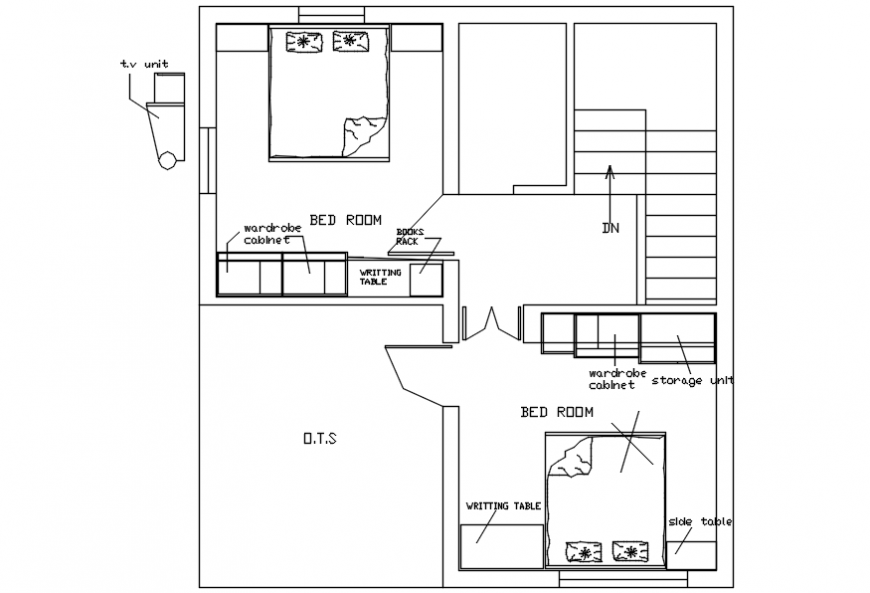 Top view furniture layout plan of bedroom detailing,