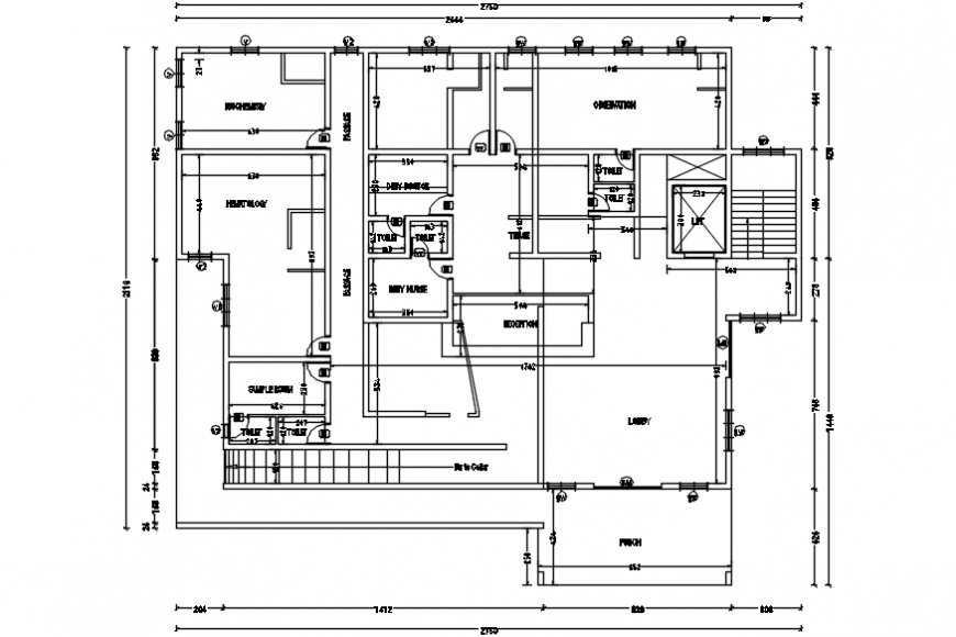 Top view hospital layout 2d file