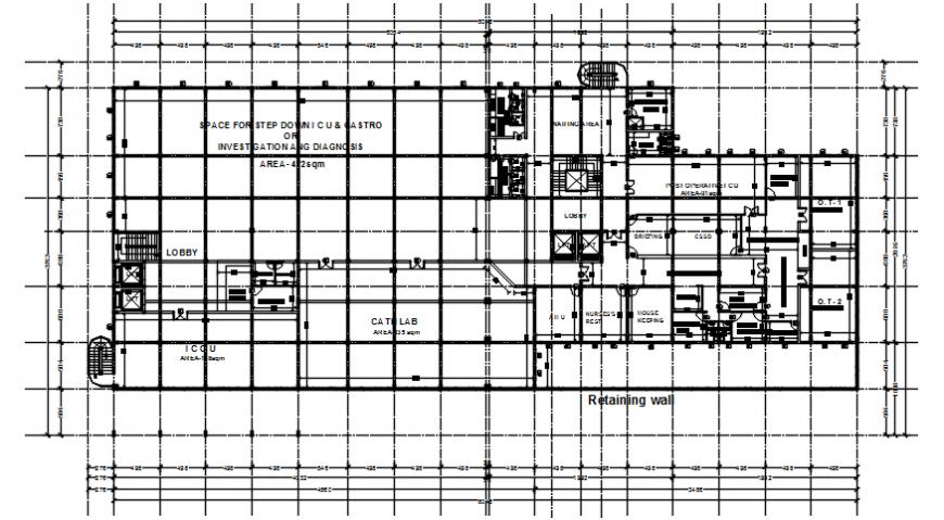 Top view hospital plan details file