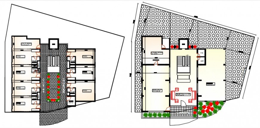Top view hotel layout plan details dwg file
