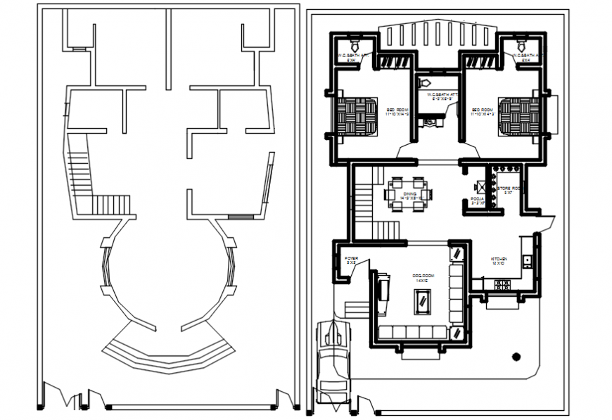 Top view house plan layout