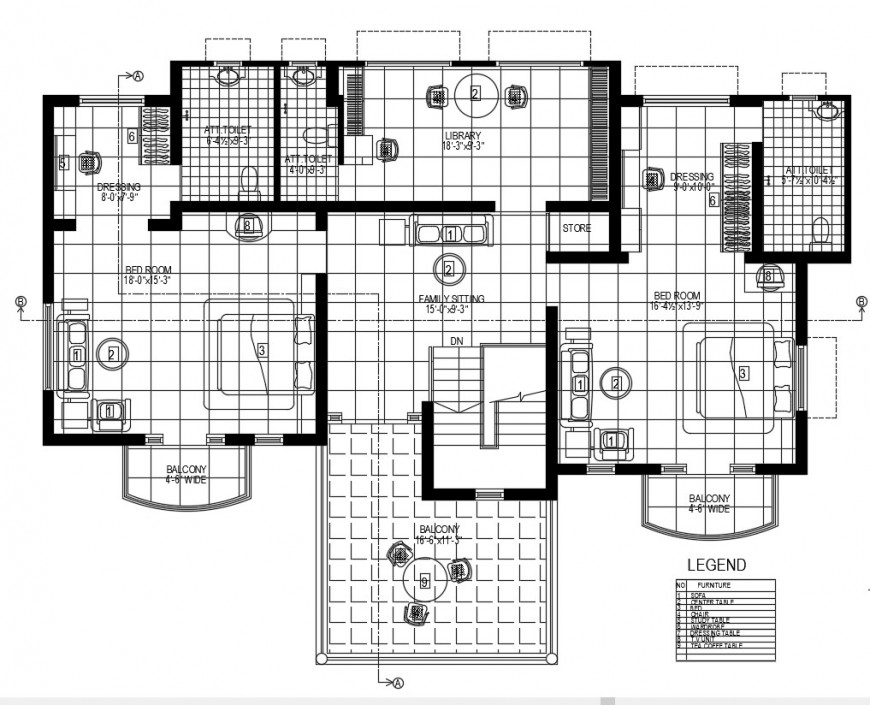 Top view interior of house detail dwg file