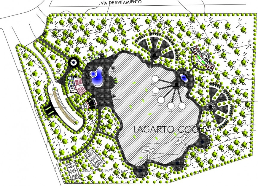 Top view landscape layout plan of resort