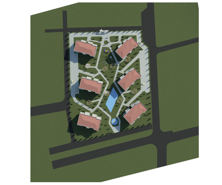 Top view landscaping structure details of colonial houses dwg file