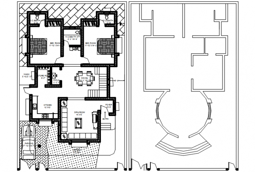Top view layout of house 2d