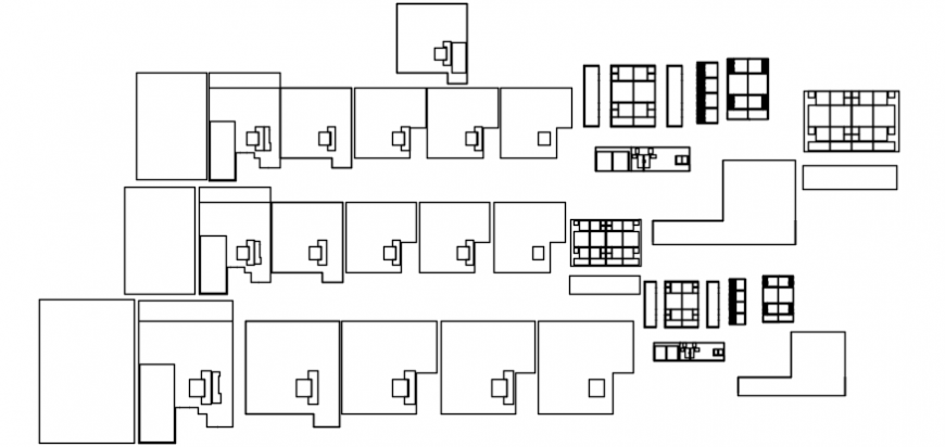 Top view layout of space cabins detail