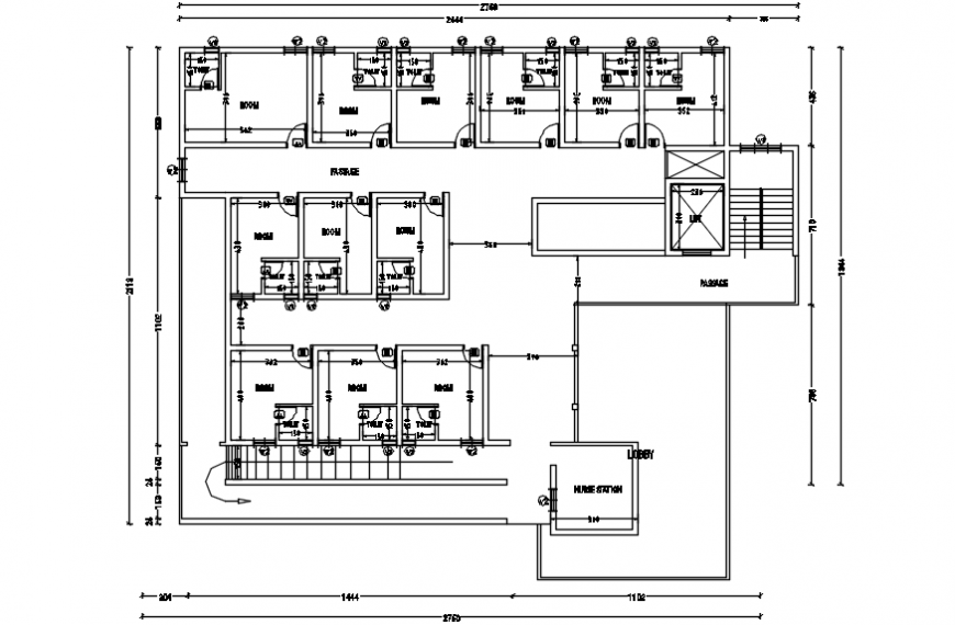 Top view layout plan of a hospital details dwg file